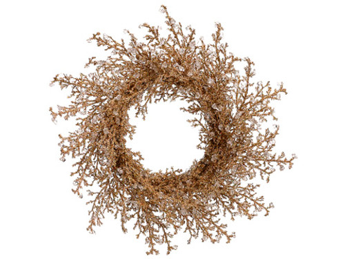 "28"" Elegant Gold Iced Twig Artificial Christmas Wreath - Unlit - 16179651"