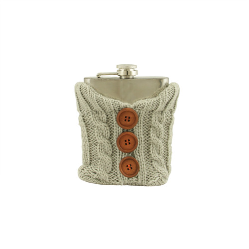 Stainless Steel Drinking Flask with Cozy Gray Knit Sweater with Brown Buttons - 7 oz - 31364843