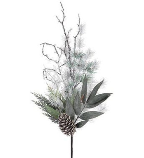 """23"""" Silver Glittered Pine Cone, Leaf and Iced Twig Artificial Christmas Pine Spray - 31105076"""