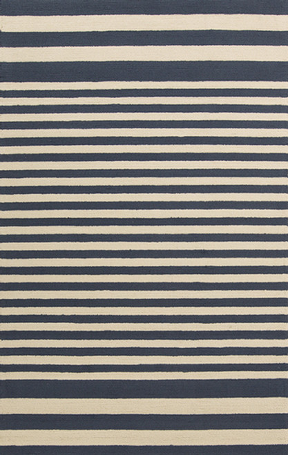 5' x 8'  Capras Score Navy Blue and Beige Hand Hooked Outdoor Area Throw Rug - 30992314