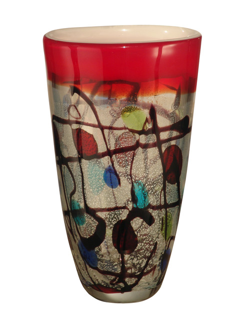 """10.5"""" Silver and Red Kaleidoscope Valiejo Decorative Hand Blown Glass Vase - 31555394"""