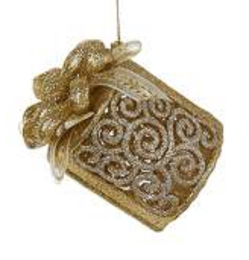 """Seasons of Elegance Gold & Silver Cylindrical Gift Box Christmas Ornament 3.25"""" - 11140128"""
