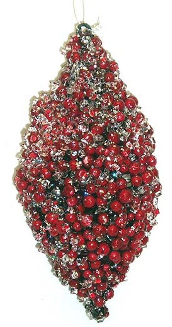 "6"" Icy Red Pepperberry Glitter Cone Christmas Ornament - 5179284"