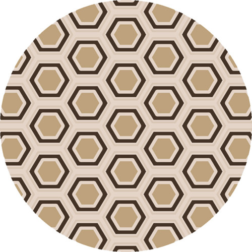 8' Retro Hexagon Goldenrod and Coffee Brown Round Wool Area Throw Rug - 30873592