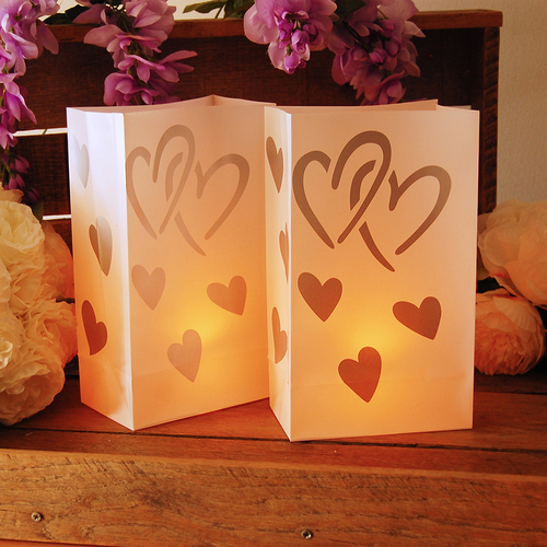 "Pack of 12 Traditional Weather Resistant Festive Silver Heart Luminaria Bags 10"" - 31354764"