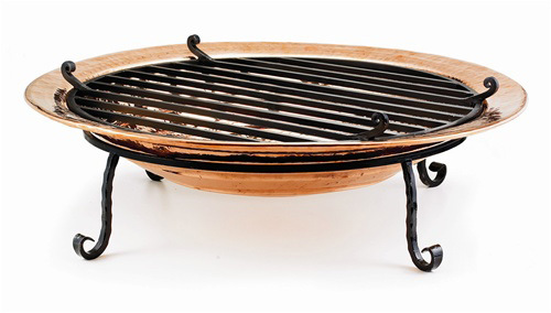 "30"" Hand-Hammered Medium Copper Fire Pit with Scroll Feet - 9449543"