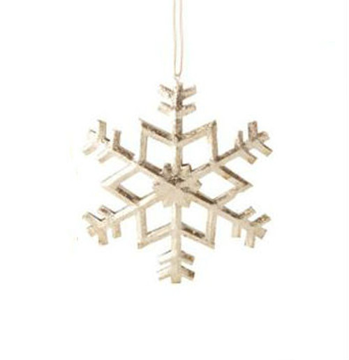 "5"" Country Cabin Antique-Style Speckled Silver Tin Snowflake Christmas Ornament - 31104265"