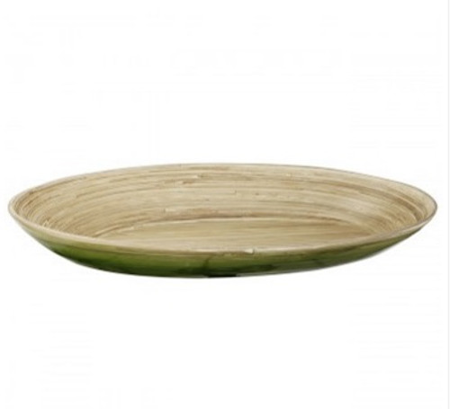 "23"" Green and Tan Decorative Ombre Dynasty Bamboo Oval Presentation Tray - 32037441"