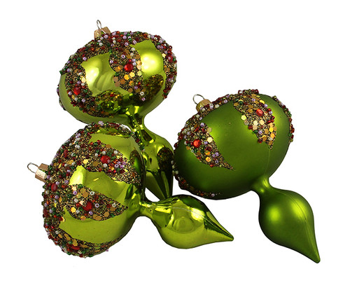 """3ct Lime Green Glitter Sequin Beaded Shatterproof Christmas Finial Ornaments 5"""" - 30889585"""