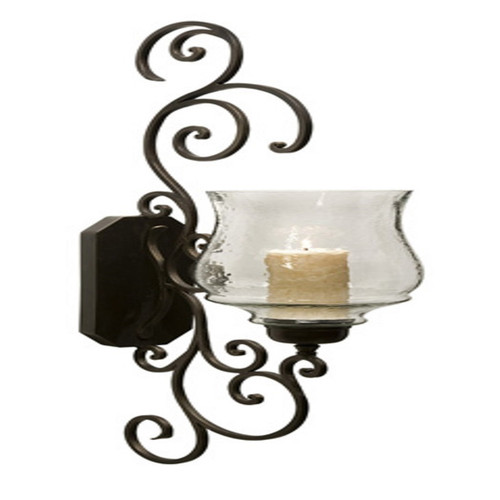 "Majestic Iron Scrollwork and Glass Candle Holder Wall Sconce 40"" - 11074603"