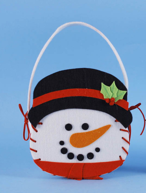"""6.5"""" Snowman Basket Pouch Filled with Red and White Christmas Guest Hand Towels - 21378197"""
