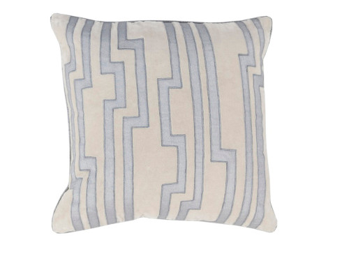 """18"""" Sand Gray and Light Blue Charming Key Patterned Decorative Throw Pillow-Down Filler - 31348308"""