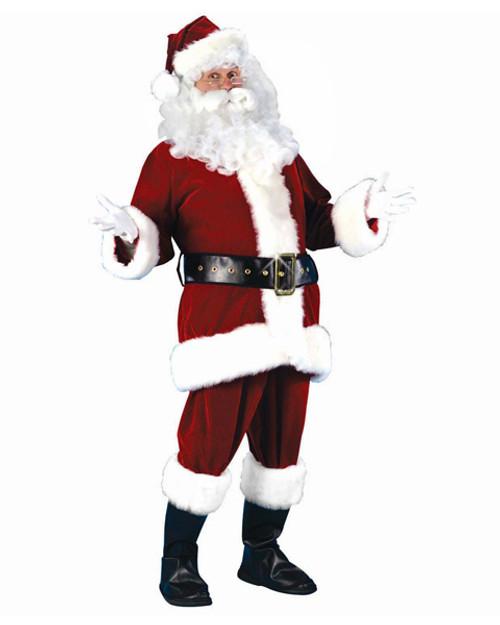 7-Piece Plush Velour Santa Claus Christmas Suit Costume - Adult Size Small - 11173992