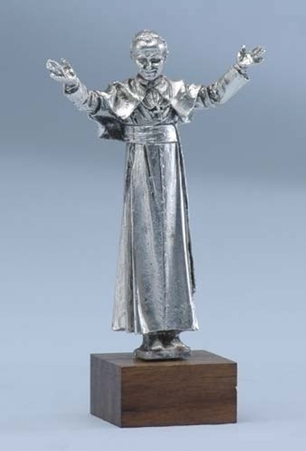 "4"" Pope John Paul II Silver Plated Pewter Tabletop Figurine #44640 - 6232272"