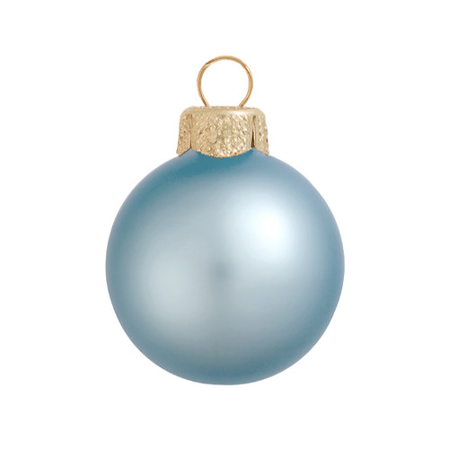 "Matte Sky Blue Glass Ball Christmas Ornament 7"" (180mm) - 30939256"