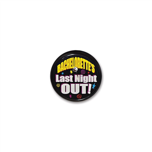 """Pack of 6 Black """"Bachelorette's Last Night"""" Decorative Blinking Buttons 2"""" - 31563066"""