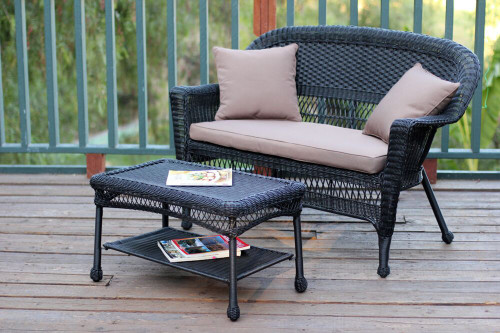 2 Piece Oswald Black Resin Wicker Patio Loveseat And Coffee Table Set    Brown Cushion
