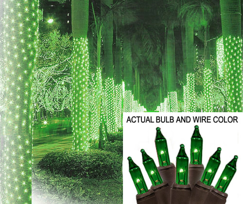 2' x 8' Green Mini Christmas Net Style Tree Trunk Wrap Lights - Brown Wire - 25250338