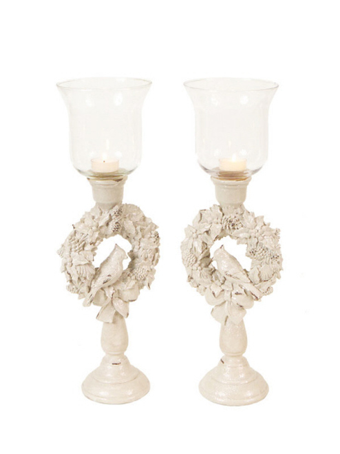 "Set of 2 Winter Solace Bird in a Christmas Wreath Glass Candle Holders 18"" - 30656596"