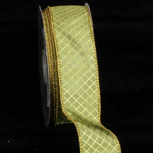 """Classic Green Piazza Design Wired Craft Ribbon 1.5"""" x 20 Yards - 31386921"""