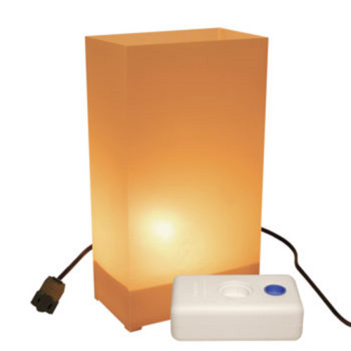 Set of 10 Lighted Orange Tan Luminaria Pathway Markers Kit with LumaBase - 30851519