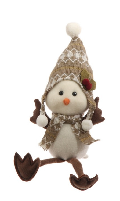 """9.75"""" Country Cabin Decorative Sitting White Bird with Scarf and Cap Stuffed Animal Figure - 31728618"""