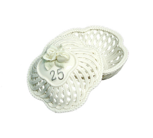 25th Wedding Anniversary To Have & To Hold Porcelain Trinket Basket - 6237889