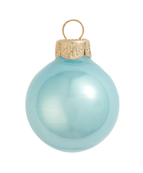 """40ct Pearl Baby Blue Glass Ball Christmas Ornaments 1.5"""" (40mm) - 30939372"""