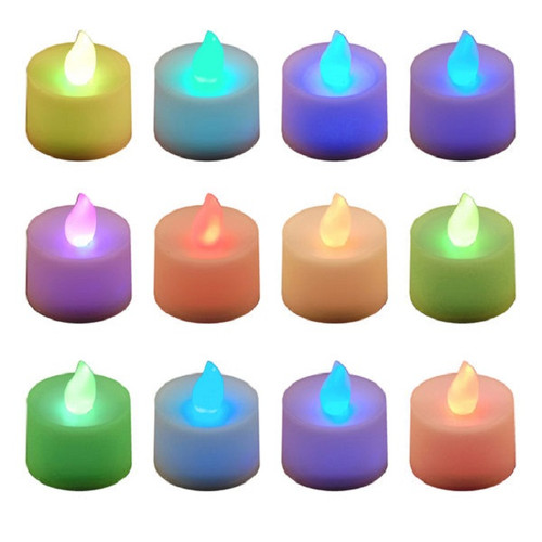 Pack of 12 Battery Operated LED Color Changing Flicker Tea Light Candles - 30851589