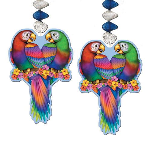 "Club Pack of 24 Multi-Colored Luau Themed Tropical Bird Dangler Hanging Decorations 30"" - 31563880"
