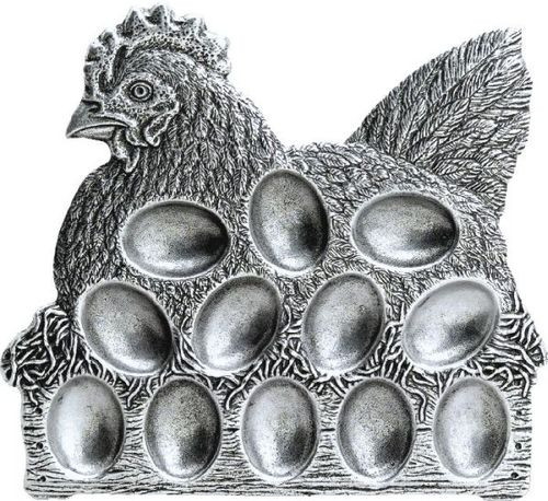 """Pack of 2 Classic Hand Crafted Statesmetal Chicken Egg Serving Plates 10"""" - 15558747"""
