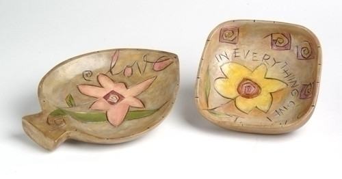 Set of 2 Love & Give Thanks Inspirational Wood Bowls by Kathy Lande #46848 - 6354311