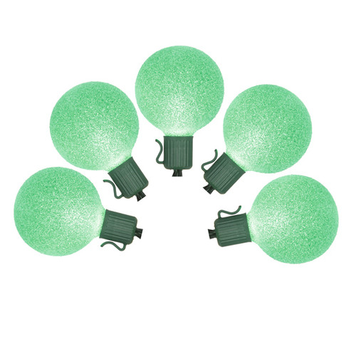 Set of 10 Battery Operated Sugared Green LED G50 Christmas Lights - Green Wire - 11334766