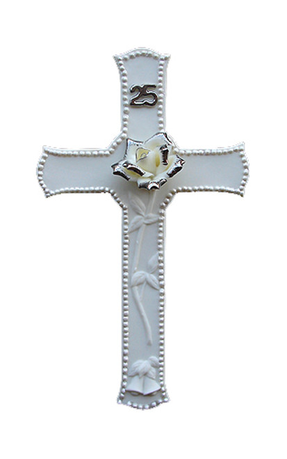 "25th Silver Wedding Anniversary Porcelain Religious Wall Cross 8"" - 5982397"