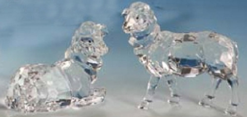 "Club Pack of 12 Icy Crystal Christmas Nativity Sheep Figurines 4"" - 31002369"