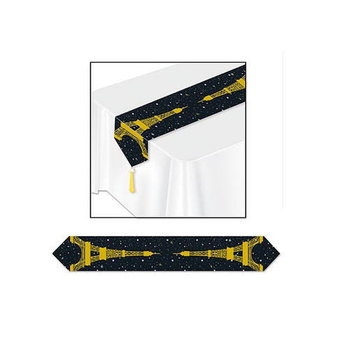Pack of 12 Black and Gold Printed Eiffel Tower Table Runner Party Decorations 6' - 32146886