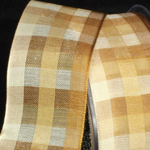 "Cream Color Plaid Wired Craft Ribbon 1.5"" x 50 Yards - 31387818"