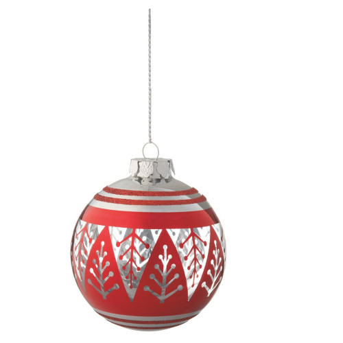 """3.75"""" Alpine Chic Red and Silver Christmas Tree Design Glass Ball Ornament - 32230519"""
