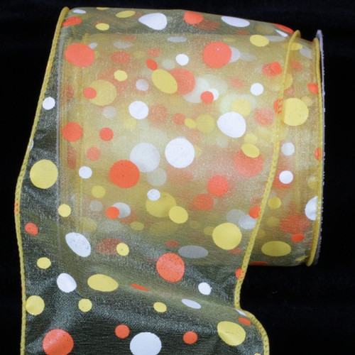"Orange and Yellow Tuffts Polka Dot Yellow Sheer Wired Craft Ribbon 4"" x 20 yards - 31385855"