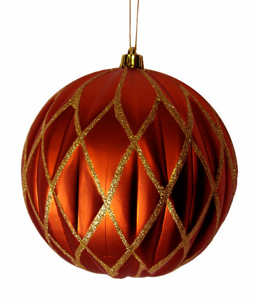 "Orange Glittered Lattice Shatterproof Christmas Ball Ornament 6"" (150mm) - 28707968"