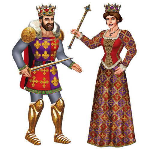 Club Pack of 12 Multi-Colored Jointed Medieval Royal King and Queen Cutout Decorations 3' - 31562722