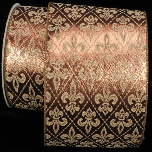 """Metallic Olive and Gold Fleur De Lis Print Wired Craft Ribbon 5"""" x 20 Yards - 31390136"""