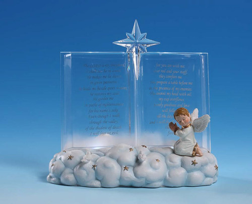 """Pack of 4 Icy Crystal Illuminated Heavenly Cherub 23rd Psalm Figurines 5"""" - 31002335"""