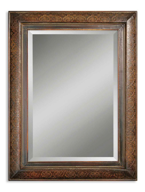 """40"""" Distressed Mahogany Embossed Copper Rectangular Beveled Wall Mirror - 28265953"""