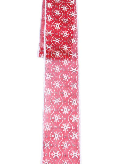 "Christmas Traditions Red and White Snowflake Ribbon 2.5"" x 10 yds - 32240523"