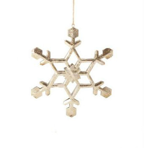 """5"""" Country Cabin Antique-Style Speckled Silver Tin Snowflake Christmas Ornament - 31104277"""