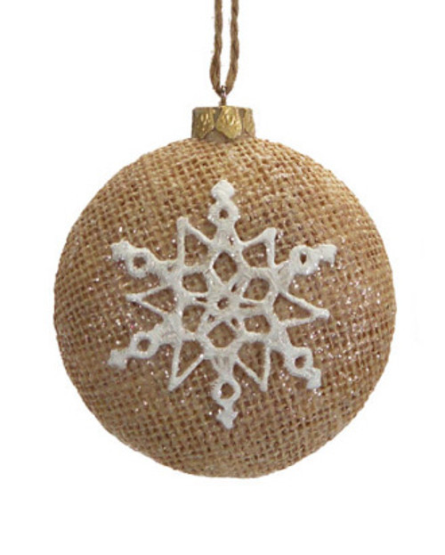 """3.25"""" Silent Luxury Brown Burlap Christmas Ornament with Glittered Snowflake Design - 31105523"""