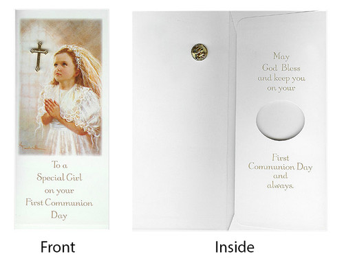 Club Pack of 24 Girl First Communion Day Gift Card & Cross Pin #40119 - 6372695