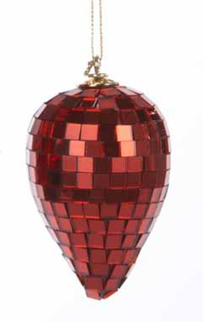 """3.5"""" Red Mirrored Glass Disco Drop Christmas Ornament - 30851440"""