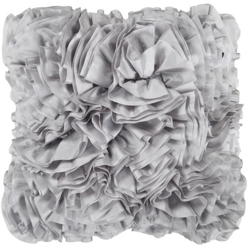 "22"" Light Gray Lush Ruffle Decorative Down Throw Pillow - 28569014"